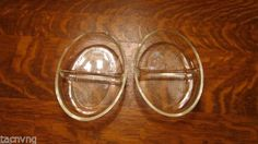 LOT-OF-2-VINTAGE-GLASBAKE-9-CLEAR-RIBBED-DIVIDED-DISH-558-USA $14.99 for 2