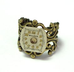 Vintage watch dial adjustable ring designed by Mystic Pieces