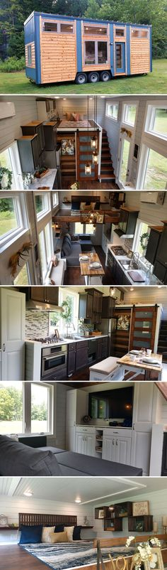 With a multifunctional island in the kitchen and entertainment center in the living room, the Blue Heron by Blue Sky Tiny Homes provides clever ways to make good use of its tiny space.