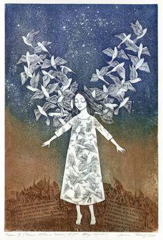Marina Terauds ~ Dream III (Dream Within a Dream), 2009 (etching, aquatint) Art And Illustration, Angel Art, Whimsical Art, Printmaking, Moose Art, Images, Artsy, Fine Art, Drawings