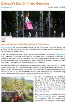 "Read about Telluride in ""Best Girlfriend Getaways"""