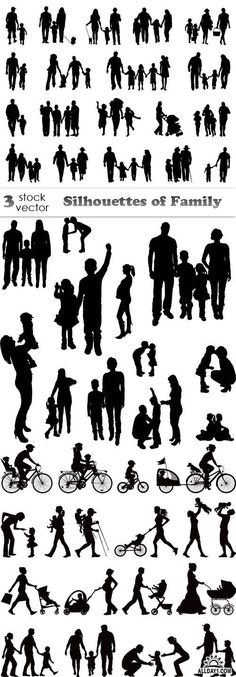 Vectors - Silhouettes of Family : Vectors - Silhouettes of Family Silhouette Tattoos, Silhouette Portrait, Silhouette Art, Mini Tattoos, New Tattoos, Cool Tattoos, Tatoos, Flower Tattoos, Silhouette Family