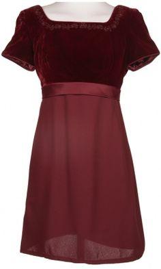 Velvet & Satin Burgundy Dress