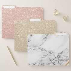 Shop Modern white marble blush gold stripes color block file folder created by girly_trend. Stores Like Anthropologie, Marble Room, Gold Office Decor, Blush And Gold, Marble Pattern, Gold Stripes, Space Crafts, Office Gifts, Silver Glitter
