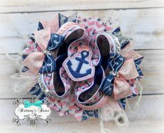 Nautical Cutie $15, $3 Shipping 5 inches, your choice of clip 1 RTS, 1 Remake (2 weeks) www.facebook.com/BrittanysBowsNMore