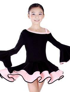 6a1cc3b9f3 Dancewear Kids' Spandex Latin Dance Color Block Off The Shoulder Ruffle  Dress Latin Tánc,
