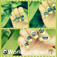 World Cup BRASIL! 2014 nail, art, love, soccer, Brazil 2014 Fifa World Cup nails. Brazil nail art.
