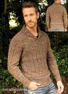Patrón gratis pullover hombre. cuello chal. Men's jumper: free knitting pattern