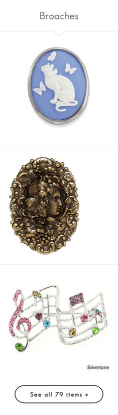 """""""Broaches"""" by thesassystewart on Polyvore featuring jewelry, pendants, pendant jewelry, cat pendant, cameo jewelry, chains jewelry, charm pendant, brooches, accessories and pin"""