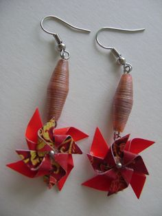 Recycled Paper Bead Dangling Earrings by NightLightCrafts on Etsy, $10.00 #handmade #pinwheel  #papercrafts