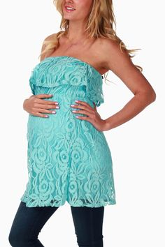 Aqua-Lace-Overlay-Strapless-Maternity-Top