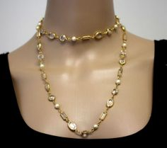 Vintage MONET Signed COUTURE Sparkling Clear Crystal & Glass Pearls Necklace