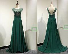 Green Evening Dress,Cap Sleeve Evening Dress,Floor Length Evening