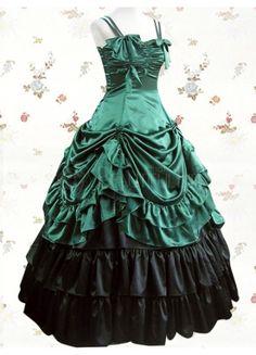 Classic Satin Spaghetti Straps Empire Floor-length Lolita Dress With Ruffles