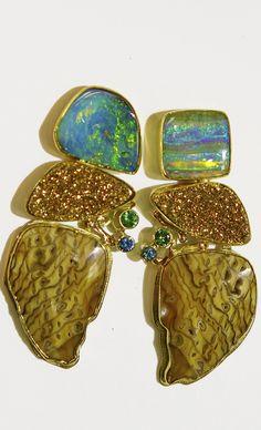 Boulder Opal Earrings with petrified sequoia, tsavorite, blue zircon and 18k drusy quartz in 22k and 18k gold.  by Jennifer Kalled  Opals from Bill Kasso.