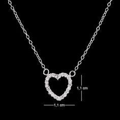 Corrente de prata com ródio pingente coração com zircônia