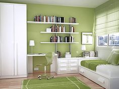 Small kids room layout small kids room green kids study room and bedroom layout space saving Bedroom Green, Green Rooms, Bedroom Colors, Modern Study Rooms, Modern Spaces, Modern Homes, Kid Spaces, Study Room Design, Kids Room Design
