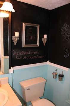 I love the idea of blackboard paint. I think I'll use it on one o the basement walls, when it's finished, to delineate the kid play area