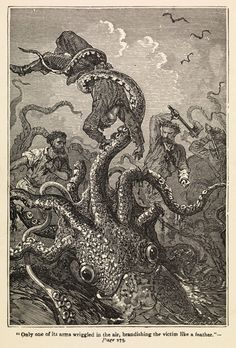 Illustration of giant squid attack from 'Twenty Thousand Leagues Under The Sea' - Alphonse-Marie-Adolphe de Neuville - Royal Museums Greenwi...