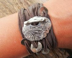 Handstamped Love Jewelry Silk Ribbon Bracelet by HappyGoLicky, $49.00  SO BEAUTIFUL! I WANT IT SO MUCH!!