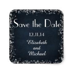 Classy Black Chalkboard Bokeh Lights Save the Date Sticker #savethedate #wedding #stickers