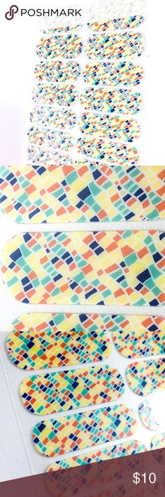 """Jamberry Colorful Mosaic Nail Wraps, SBE, Full Brightly colored squares bordered by white in a wavy, striped mosaic pattern make this design amazing to look at! With a glossy finish, this pattern is a bright splash of fun for your nails!  This Full Sheet includes 18 wraps; each piece designed to be used on two nails; use on natural or acrylics, & lasts up to 2 weeks!  Titled """"February StyleBox Exclusive"""" and numbered 2K48.  This item was a February 2015 StyleBox Exclusive with limited…"""