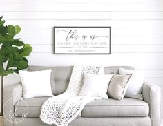 Farmhouse wall decor let's get cozy sign living room wall decor wood f Family Wood Signs, Wood Signs For Home, Family Wall Art, Home Decor Signs, Wooden Signs, Family Room, Above Couch Decor, Table Diy, Sweet Home