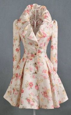 Attractive Flower Print Long Sleeve Turndown Collar Trench Coats:  this is lovely!