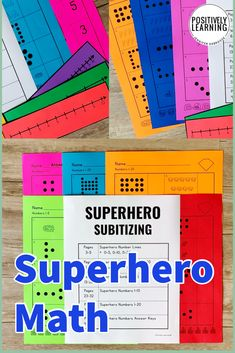 Math Practice for your superheroes! Subitizing 1-20 with answer keys and visual support. Differentiation is easy with these ready-to-go math materials. From Positively Learning Blog #superhero #subitizing #mathworksheets