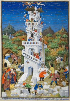 "Building of the Tower of Babel; detail of a miniature from BL Add MS 18850, f. 17v (the ""Bedford Hours""), 15th c."