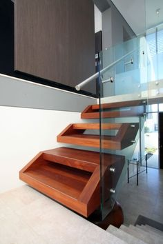 Interesting wood stair design.