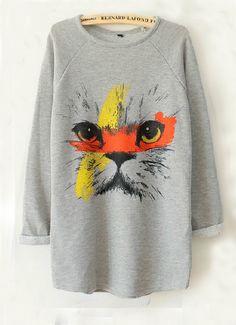 Grey Long Sleeve Cat Face Print Sweatshirt US$27.17