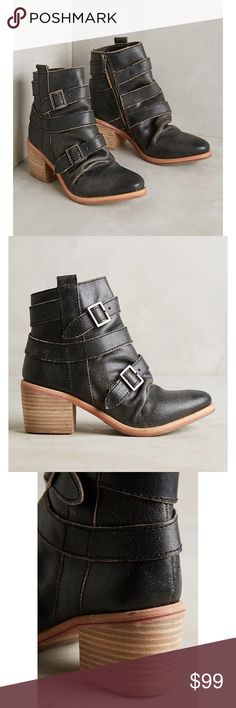 "Anthropologie Kelsi Dagger Black Ankle Boots Anthropologie Kelsi Dagger Brooklyn Grand Buckle Ankle Boots. Distressed black leather upper. Leather insole. Synthetic Sole. Zip closure. 2.5"" stacked wood heel. 5.5"" total height. New in box. Anthropologie Shoes Ankle Boots & Booties"