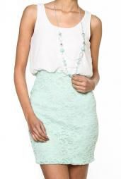 Delicate Moments Two Toned Lace Bottom Dress With Necklace in White/Mint. Love the clothes on this site. Sweet boutique