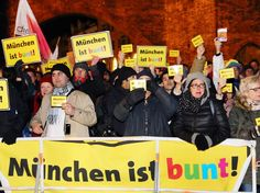"""(Photo:Westermann) Thousands of people held a rally in the city of Munich to promote tolerance and solidarity with immigrants and refugees (""""Munich is multi-colored""""). The demonstrators marched against anti-Islam, xenophobia and racism sentiments of the Pegida movement that has been gathering steam across many German cities in the last weeks of 2014"""