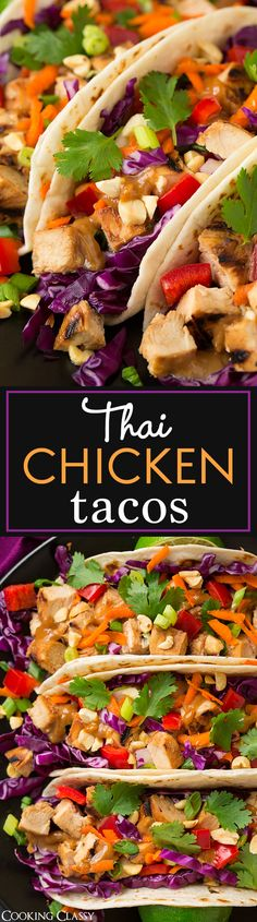 Thai Chicken Tacos with Peanut Sauce - these are unbelievably good! The chicken would also be great for Thai salads and noodle bowls. from {Cooking Classy} Asian Recipes, Mexican Food Recipes, Dinner Recipes, Healthy Recipes, Thai Recipes, Healthy Breakfasts, Healthy Snacks, Cake Recipes, Noodle Recipes