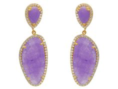 Fronay Co Gold Plated Sterling Silver Lavender Jade Slice Drop Earrings