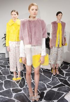 Hannah Weiland, line up of shrimps models S/S 2015. Via asos.com Sleepwear style pants with doodle prints. Slim lines versions of the iconic shrimps coat with bold contrasting colour. colour pallet flows throughout as some garments are dominated by one colour and others sharing a blend.