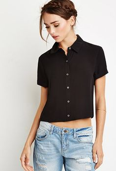 Camisa Cropped Corte Recto | Forever 21 - 2000131499