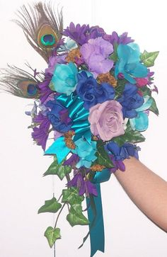 Peacock Bouquet - Decorations - Purple - Teal - Blue - Roses - Orchids - Cascade - Feathers