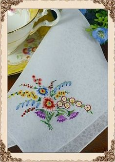 Linen Etched Handkerchief with Fabulous Hand Embroidered Flowers