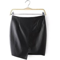 Yoins Asymmetric Artificial Leather Mini Skirt (135 SEK) ❤ liked on Polyvore featuring skirts, mini skirts, bottoms, black, short skirts, leather miniskirt, leather skirt, sexy short skirts and asymmetrical mini skirt