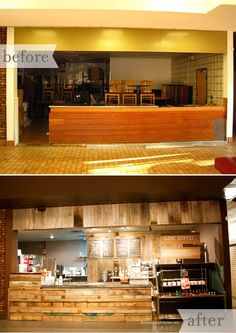 the well coffee house : before + afterthe handmade home Coffee Shop Bar, Coffee Shop Design, Coffee Shops, Cafe Design, Coffee House Decor, Starting A Coffee Shop, Coffee Shop Aesthetic, Cafe Counter, Basement Remodeling