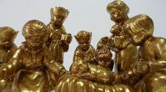 Enesco Nativity Set Vintage 1997 - Metallic Gold Leaf Finish - All That Glitters Christmas Nativity Set, Vintage Christmas, Metallic Gold, Gold Leaf, Ebay Shopping, All That Glitters, Lion Sculpture, Decor, Decoration