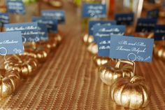Gold Pumkin Escort Card Holders: These gold pumpkins are a festive and adorable way to display your escort cards for a fall wedding. It's also a simple DIY idea if you're looking to save money on your holiday table decorations. Fall Wedding Decorations, Wedding Ideas, Wedding Inspiration, Wedding Planning, Quince Decorations, Decor Wedding, Wedding Colors, Diy Wedding, Wedding Flowers