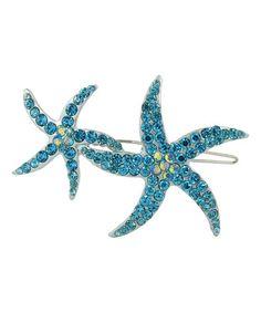 Crystal & Aqua Double Starfish Hair Clip #zulily #zulilyfinds