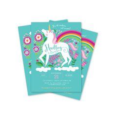 Unicorn Birthday Invitation Printable Customized by crazyfoxpaper