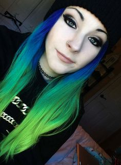 Green blue ombre dyed hair