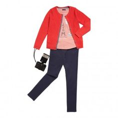 Cardigan rouge coquelicot Fadoua - Les vestes, cardigans et pulls - Fille - Grand enfant (8-14 ans) | Sergent Major