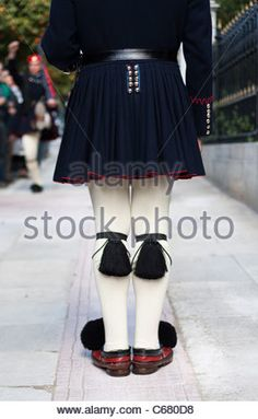 Evzones changing the guard outside the Presidential Mansion in Athens, Greece. Closeup. Stock Photo